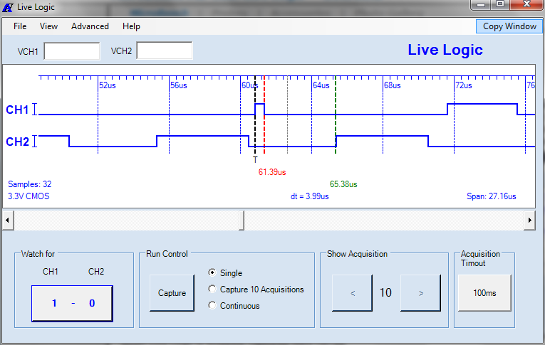 MicroBench MB-500 Live Logic user application window with timing display