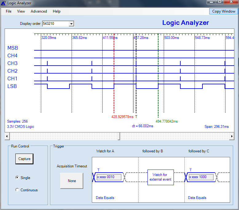 MicroBench MB-500 Logic Analyzer user application window with timing display