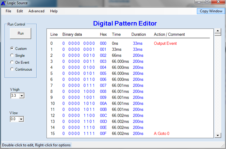 MicroBench MB-500 Logic Source user application window with digital pattern editor
