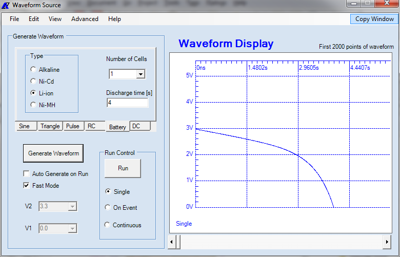MicroBench MB-500 Waveform Source user application window